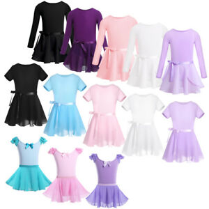 Kids Baby Girl Long Sleeve Ballet Dress Outfits Gym Leotard with Skirt Dancewear