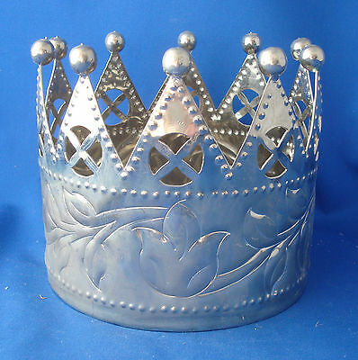 """large 6"""" wide silver king's crown pillar candle holder or wine coaster"""