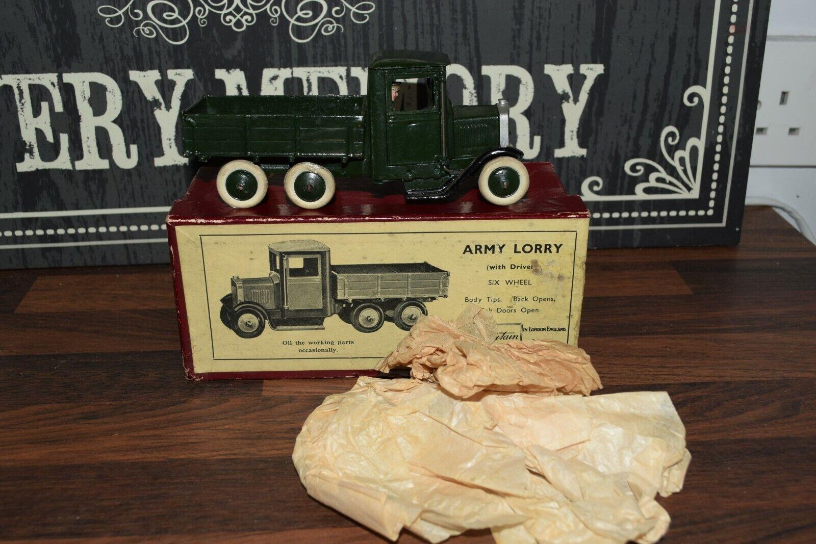 RARE RARE Pre War BRITAIN'S No.1335 Six Wheel Army tipping Lorry Driver Boxed n mint