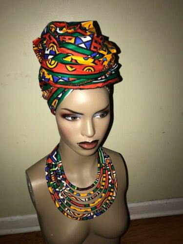 "Wakanda Style African print Wax head Tie Turban and Necklace Set 70/'X23/"""