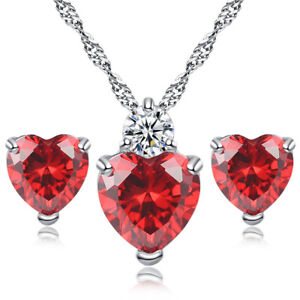 2-pcs-Lots-Natural-Fire-Red-Garnet-Gems-Silver-Heart-Necklace-Pendant-Earrings