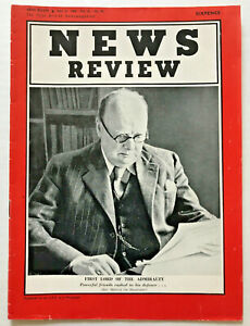 VINTAGE-1940-Winston-Churchill-Cover-Photo-on-NEWS-REVIEW-Magazine-World-War-Two
