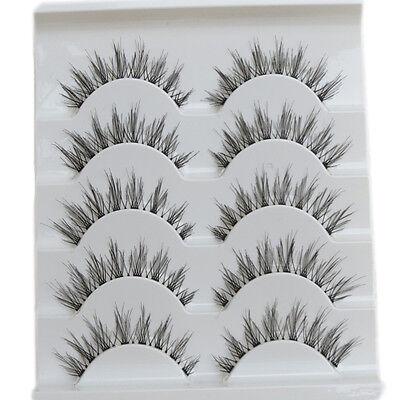 Beauty 5 Pairs Makeup Handmade Natural Fashion Long False Eyelashes Eye Lashes A