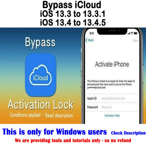 iCloud Activation Bypass Removal tools IOS13 IOS13.4.5 Supported windows users