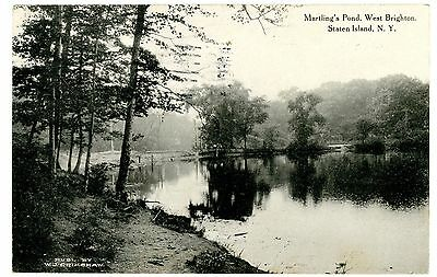 West Brighton Staten Island NY -MARTLINGS POND- Postcard