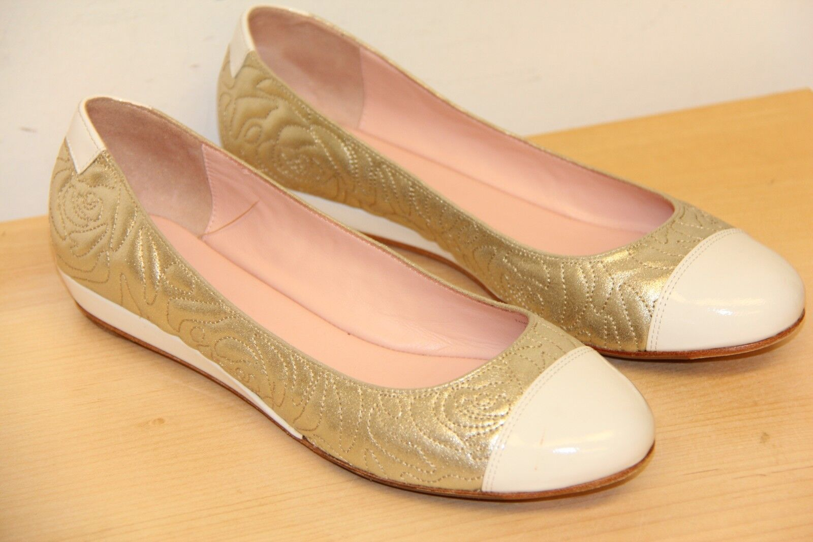 NIB Taryn Sz Rose PAMONA Suede Patent Leather Slip On Flats Sz Taryn 9.5 Gold Whitre 7fb934