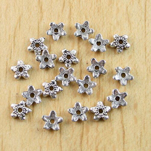 120Pcs Tibetan silver color 5mm flower design bead caps findings  h0376