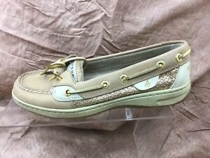 Details About Sperry Top Sider Womens Size 6 S Angelfish Gold Glitter Boat Shoes 9101759 Tan