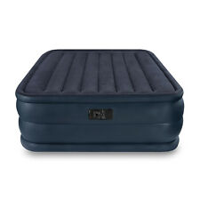 Intex Queen Raised Downy Inflatable Camping Air Mattress Bed With Built-In Pump