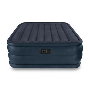 Intex Queen Raised Downy Inflatable Camping Air Mattress Bed With Built In Pump