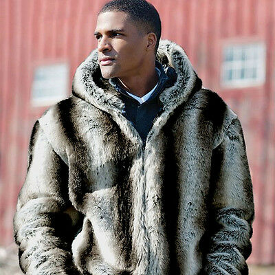 Mens Winter Warm Long Sleeve Faux Fur Coat Overwear Luxury Overcoat Parka Jacket
