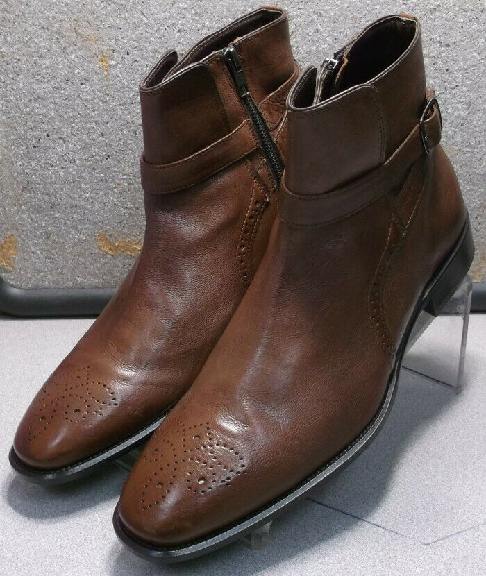 87cc0aabd0b 271800 MSBT50 Men s shoes Size 11 M Brown Leather Leather Leather Zip Up  Boots Johnston ...