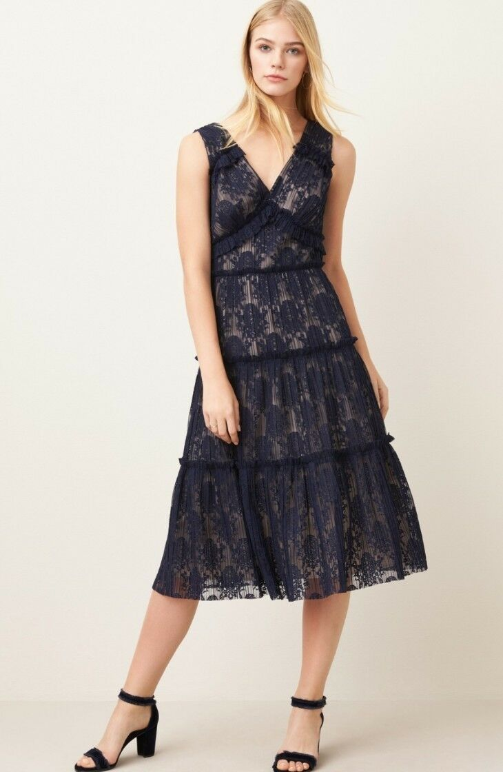 NWT Maggy London Lace Midi V-neck Dress 12P Navy Cocktail Party