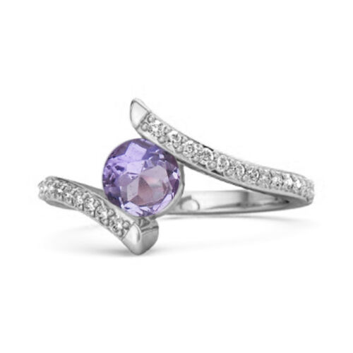Details about  /Stackable 10k White Gold  0.10 Ctw Amethyst Gemstone Anniversary Women Ring