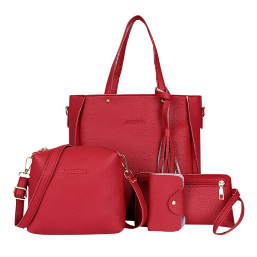 4Pcs//Set Women Leather Handbag Lady Shoulder Bags Tote Purse Messenger Bag~