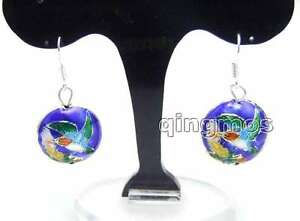 SALE-Beautiful-18mm-Round-Blue-Cloisonne-Beads-Dangle-1-5-039-039-earring-ear511