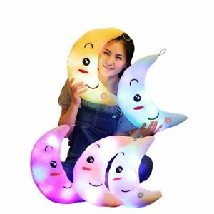 Moon Pillow Plush Toy Cute Luminous Toy Led Light Glow In Dark Doll For Children