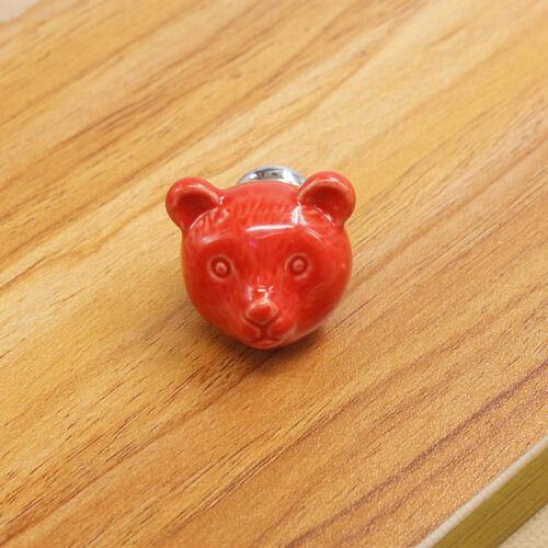 Chic Bear Ceramic Dresser Handle Cabinet Cupboard Drawer Wardrobe Door Pull Knob