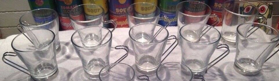 10 glass Vitpinkx  Oslo coffee cappuccino cups glasses w  metal handles
