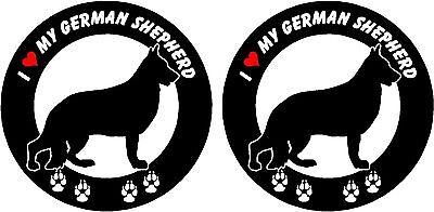 (2) I love my German Shepherd dog ROUND car truck windows vinyl decals stickers