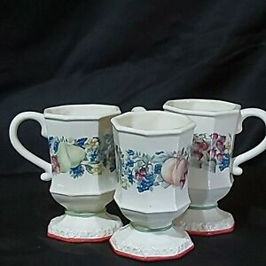 Vintage-Avon-Cups-Sweet-Country-Harvest-Octagonal-3-034-x3-034-x5-034-Preowned-Lot-of-3