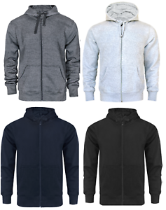 Homme-Fermeture-Eclair-a-Capuche-Sweat-a-Capuche-Polaire-Top-Plain-Hoody-Pull-Pullover-Big