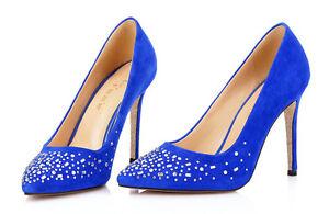 Décollte Zapatos de salón mujer perno talón 10 cm tacón aguja strass azul 8857