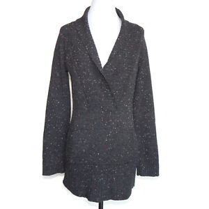 AQUA-100-Cashmere-Gray-Speckled-Collared-Kangaroo-Pocket-Sweater-sz-Small-9445