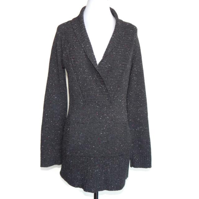 AQUA 100% Cashmere Gray Speckled Collared Kangaroo Pocket Sweater sz Small /9445