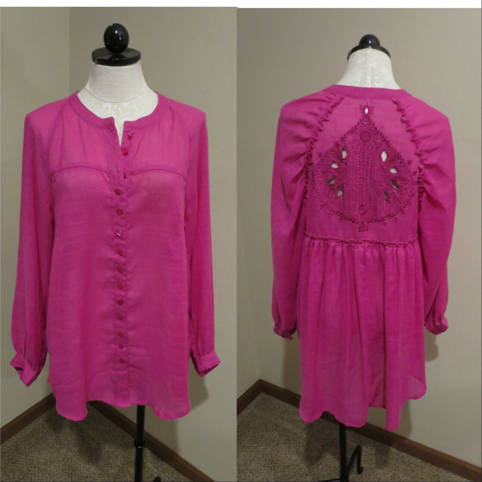 Free People embroiderot back tunic button down blouse shirt top sz M