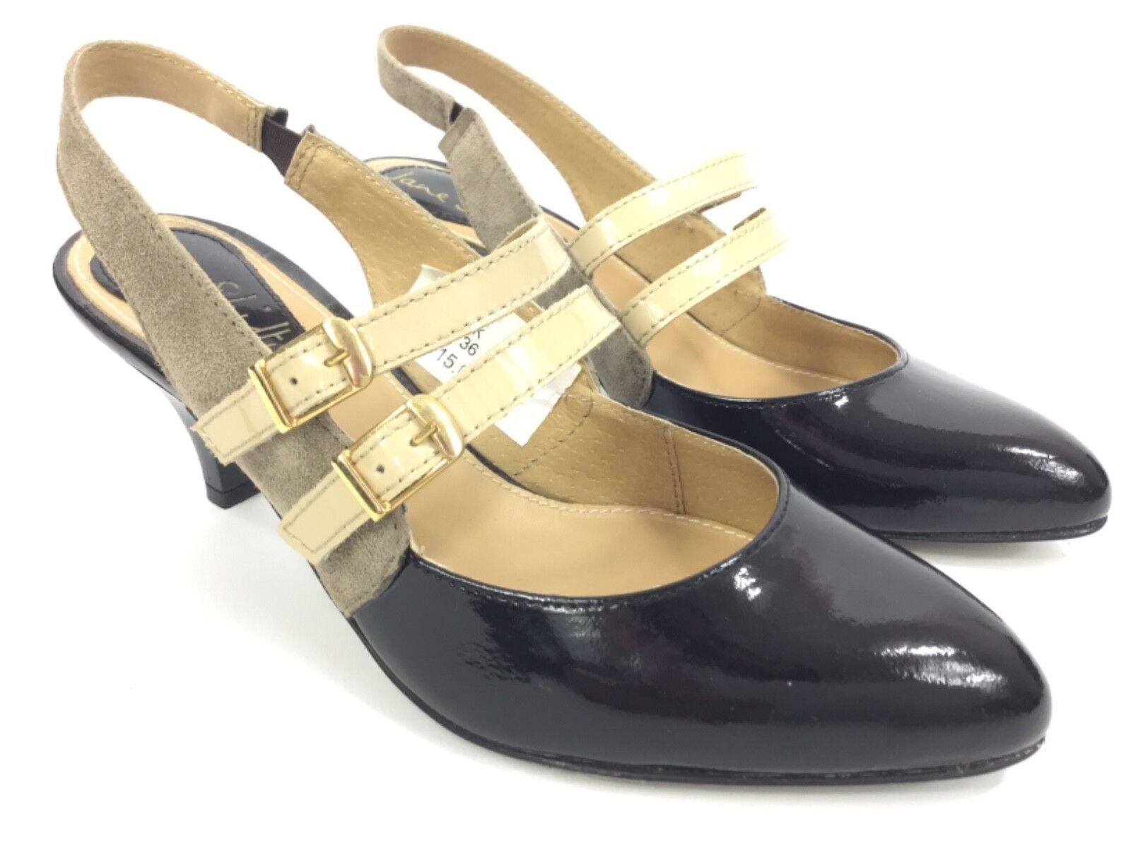 Jane Shilton Vintage Estilo Charol Charol Charol Negro gris Gamuza Slingback zapatos 36  preferente
