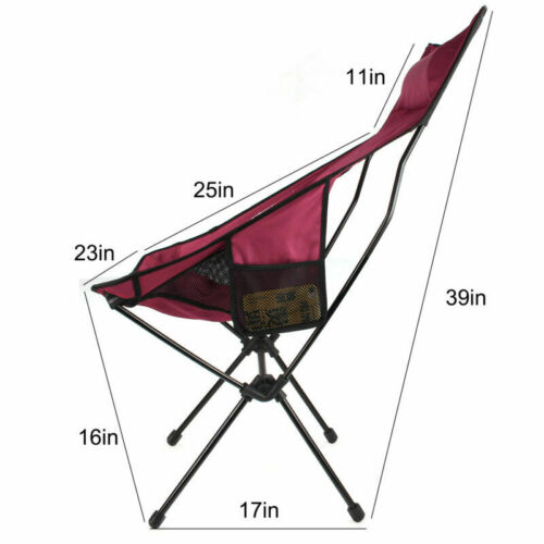 Folding Camping Chair Aluminum Frame High Mesh Back Portable Seat Wine Red