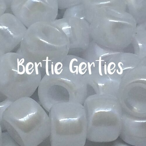 White Pearl Pony Beads * 3 pour 2 9 x 6 mm-Sparkle Plastique Barrel