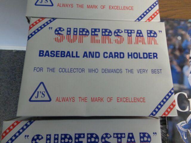 Superstar Crystal Acrylic Baseball and Card Holder Display Case Black Frame
