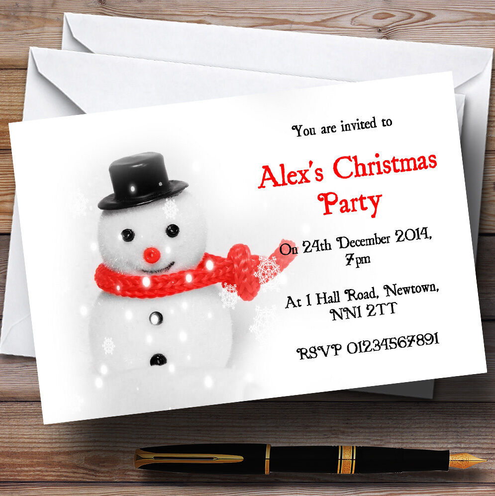 Cute Snowman Personalised Christmas Party Invitations