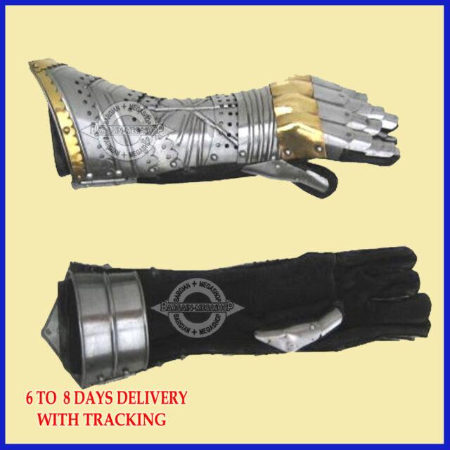 Gauntlet Gloves Armor Pair w/ Brass Accents ~ Medieval Knight Crusader vv1
