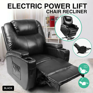 Black-Electric-Power-Lift-Recliner-Chair-Elderly-Armchair-Lounge-Seat-w-Remote