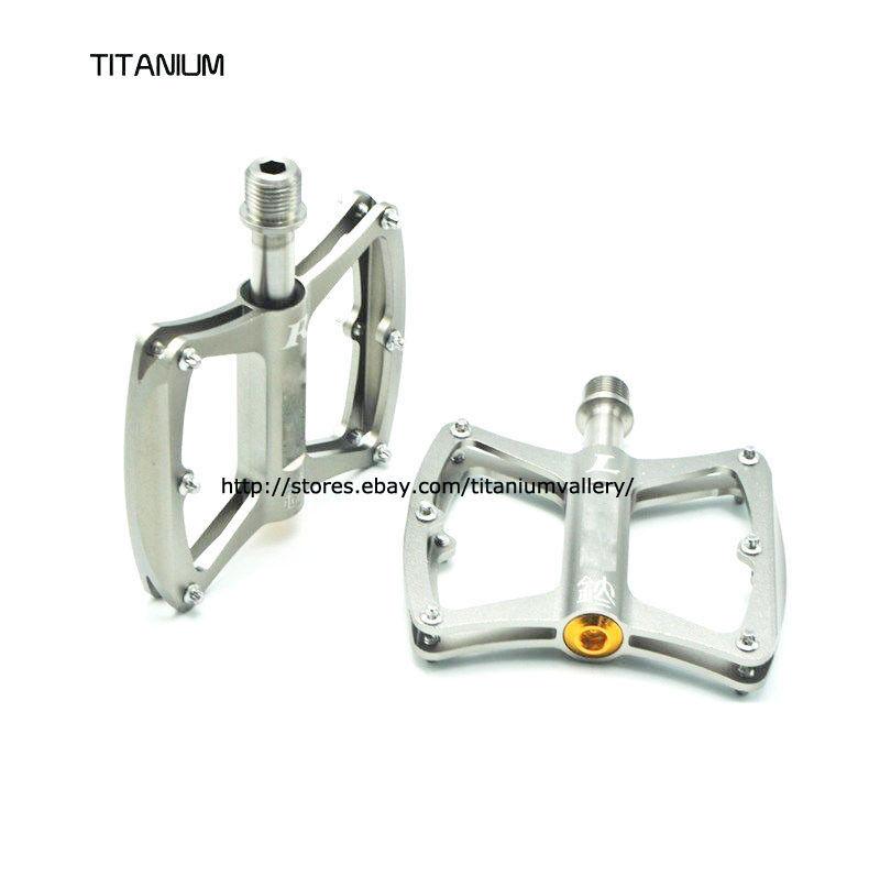 MaxiTi Titanium Axle Pedal Sealed  DU Bearing Bicycle Flat Platform Pedal  outlet sale