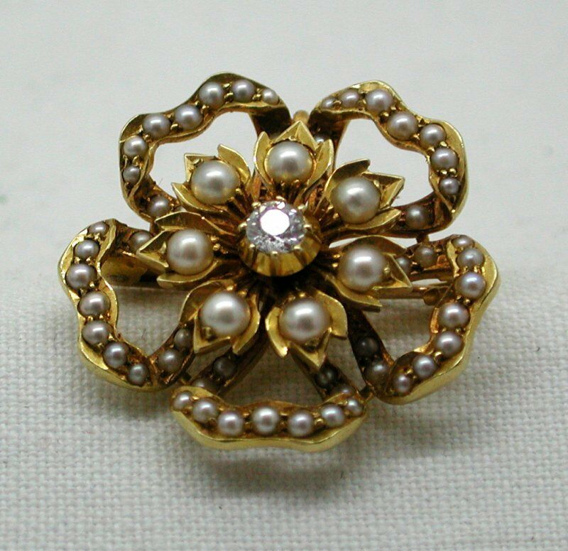 Antico splendido splendido splendido qualità 15 Carati con Diamante e Perla Spilla 8639e4