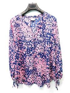 Liz Claiborne Woman 1X Blue Pink Floral Shirt Long Sleeve Button V Neck Blouse