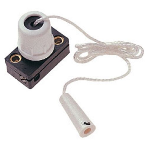 Dencon Mini Pull Switch with Cord Centre Pull Shower Light White