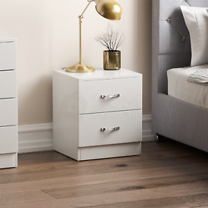 Riano Bedside Cabinet White 2 Drawer Metal Handles Runners Bedroom Furniture