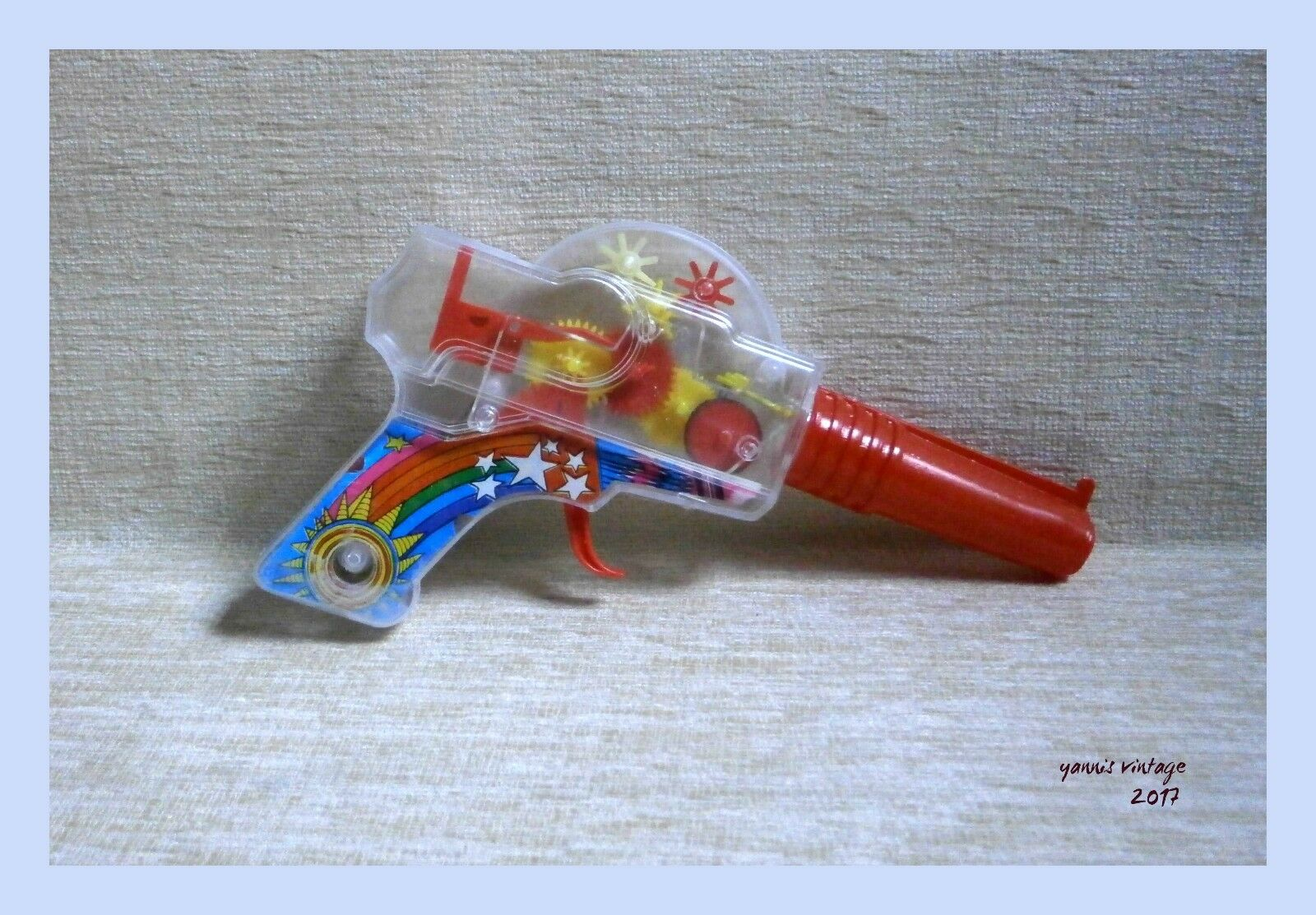 Transparent SPACE GUN FRICTION SPARKING NEW NO BOX PLASTIC UNIQUE MADE IN GREECE