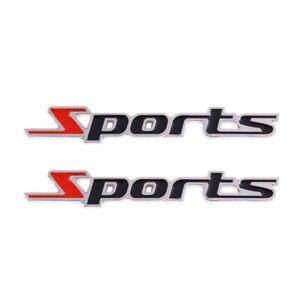 2-Stueck-Schwarz-amp-Rot-Metall-Sport-Alphabet-Auto-Abzeichen-Aufkleber-W7Y3