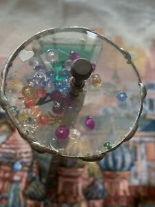Kaleidoscope-Leaded-Glass-Wheel-Diameter-2-6-Inches-Length-8-Inches-Vintage