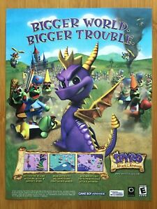 Spyro Attack of the Rhynocs GBA 2003 Print Ad/Poster Official Authentic Art Rare