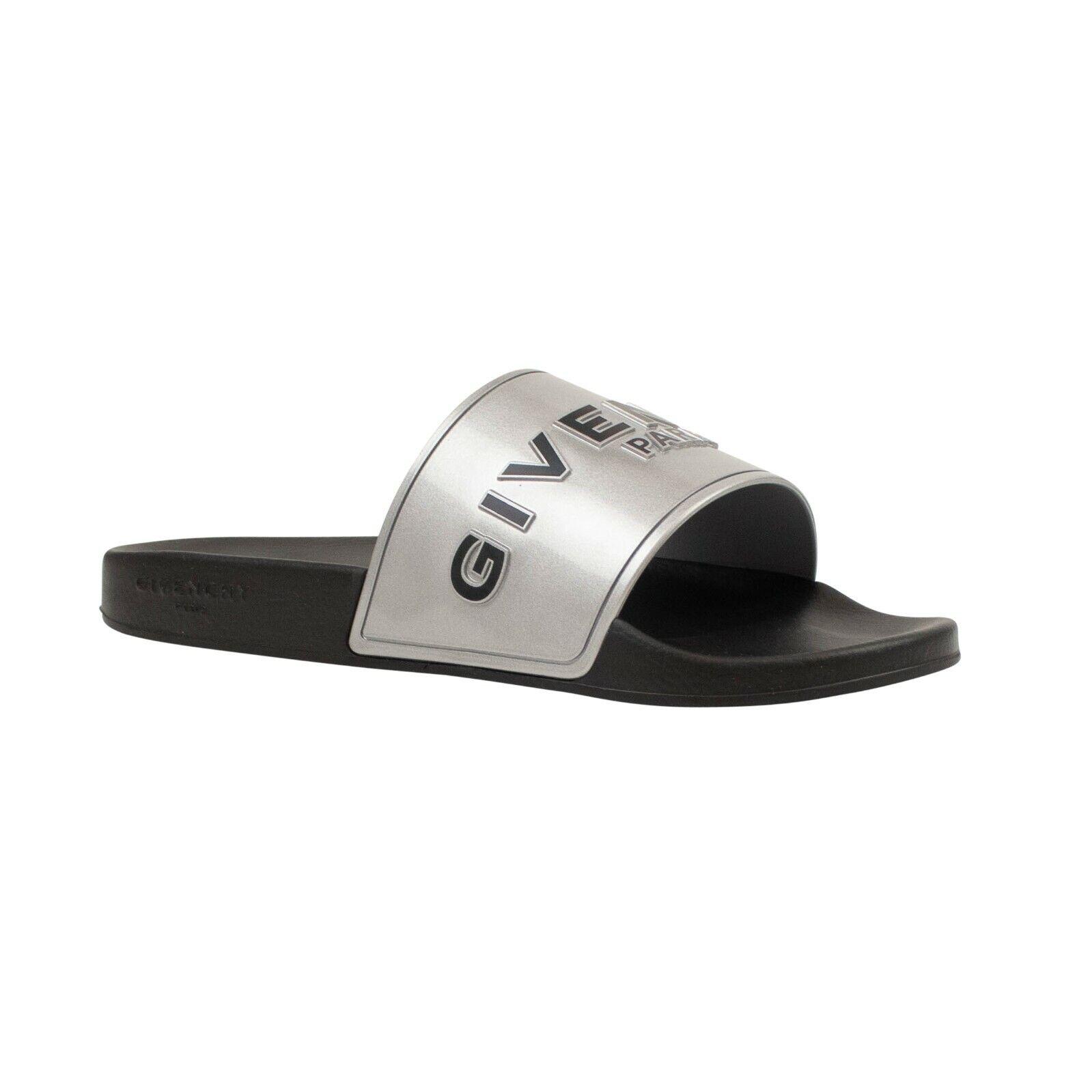 NIB GIVENCHY Black/ Silver GIV Slide Sandals Size 12/45