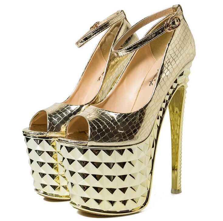 Chic 20cm Super High Heels Women Peep Toe Ankle Strap Platform Pumps Dress Shoes