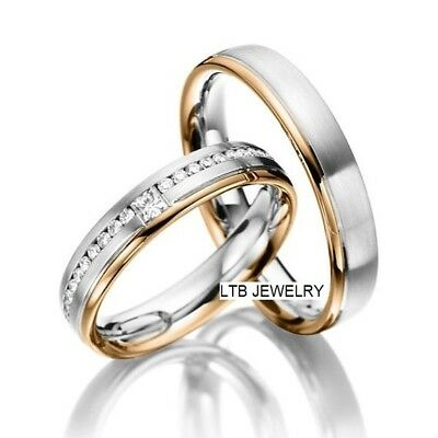 Wedding Rings Sets For Him And Her.10k His Hers Two Tone Gold Diamond Matching Wedding Rings Set Ebay