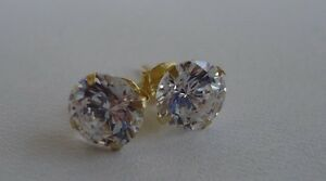 10K-SOLID-YELLOW-GOLD-STUD-EARRINGS-W-1-CT-DIAMONDS-STUNNING-LOOK